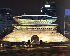 Namdaemun, one of eight gates in the fortress wall of Seoul, South Korea